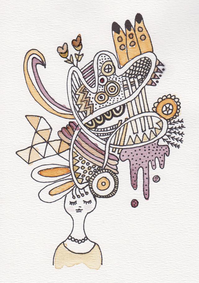 illustratie over dementie ingekleurd met thee
