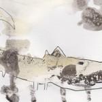 illustratie krokodil van thee en inkt