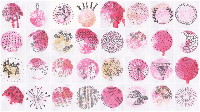 vegetable stamps with ink + illustrations and patterns with pen