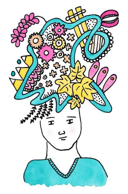 illustratie hoofd met gedachten man