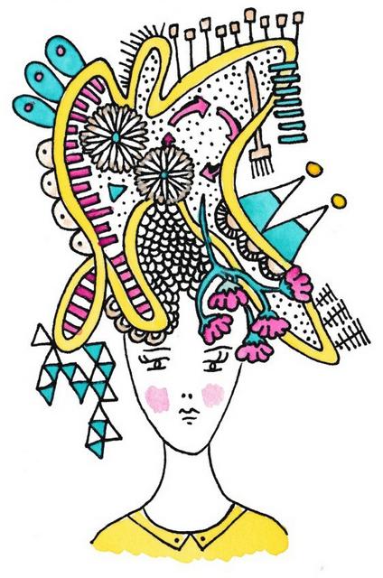 illustratie hoofd met gedachten vrouw