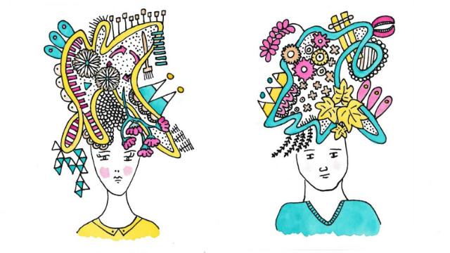 Illustraties van hoofden met gedachten m/v