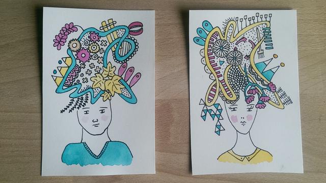 illustraties van hoofden met gedachten