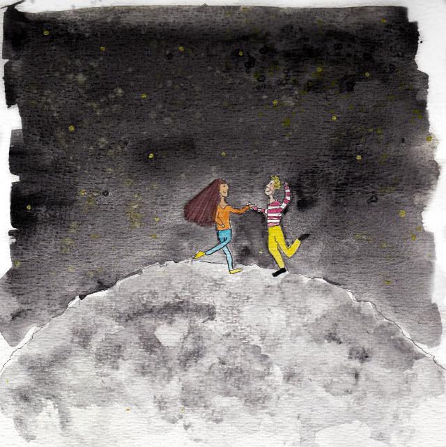 dansen op de maan - tekening Lisanne Lentink