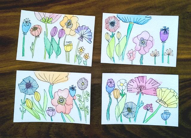 geillustreerde bloemen aquarel