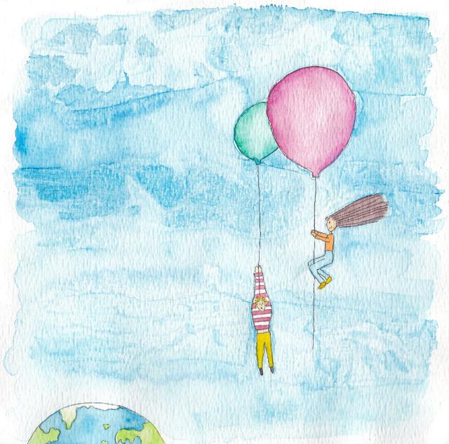 tekening vliegen ballon door Lisanne Lentink